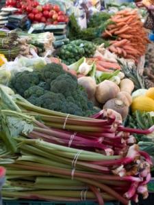 spring farmer's market, rhubarb
