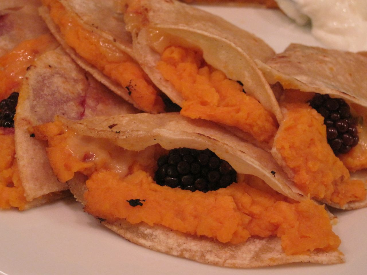 Sweet Potato & Blackberry Quesadillas